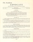 The Advocate - Vol. I No.I by Fordham Law Alumni Association, Fordham Law School