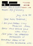 Letter from a German Supporter to Geraldine Ferraro