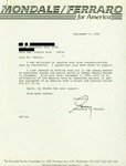 Letter from Geraldine Ferraro to a Puerto Rican Supporter