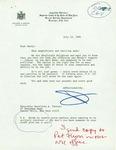 Letter from New York  Associate Justice Richard Brown to Geraldine Ferraro