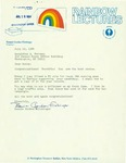 Letter from Bonnie Gordon Flickinger, President of Rainbow Lectures, to Geraldine Ferraro