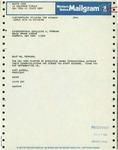 Telegram from Mary Carroll, New York Chapter President of Executive Women International, to Geraldine Ferraro