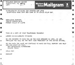 Telegram from Howard Teich, Founder of New Democratic Dimensions, to Geraldine Ferraro by Howard Teich and Geraldine Ferraro