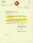 Letter from Julian B. Grow, Executive Vice President of the Queens Transit Corps., to Geraldine Ferraro