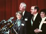 Geraldine Ferraro, Senator Daniel Patrick Moynihan (D-NY), Chairman Charles Manatt, and Lynn Cutler at 1984 Democratic National Committee Platform Hearings by Geraldine Ferraro